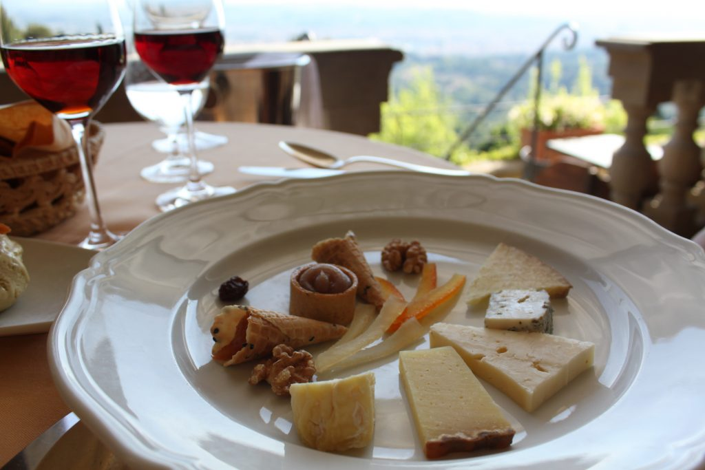 Cheese and wine at Belmond Villa San Michele in Fiesole