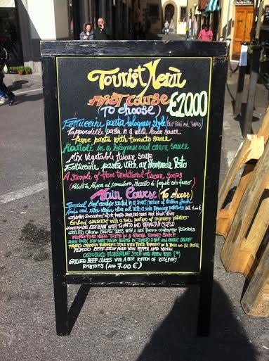 tourist menu florence