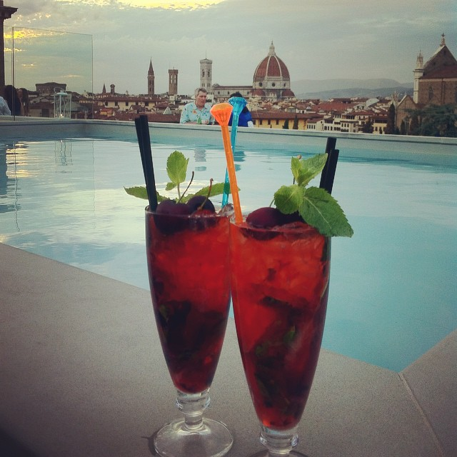 summer cherry cocktails at the Lucchesi Hotel Rooftop Bar in Florence
