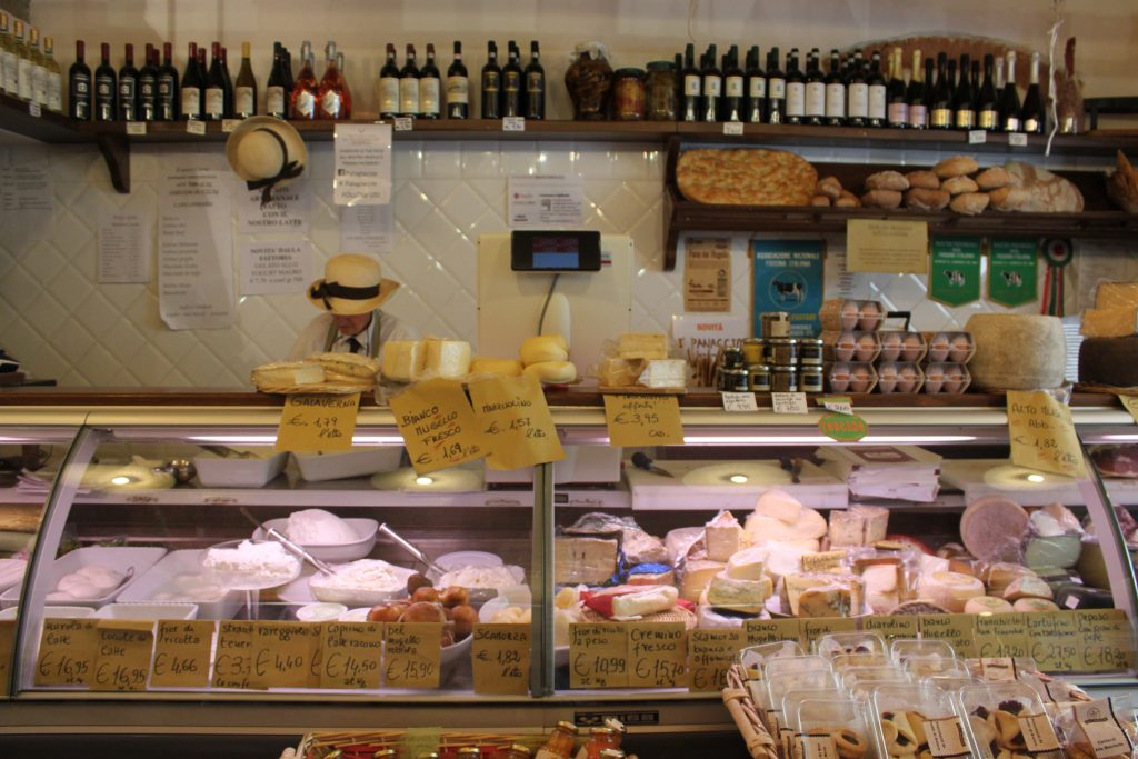 cheese case in Florence Italy