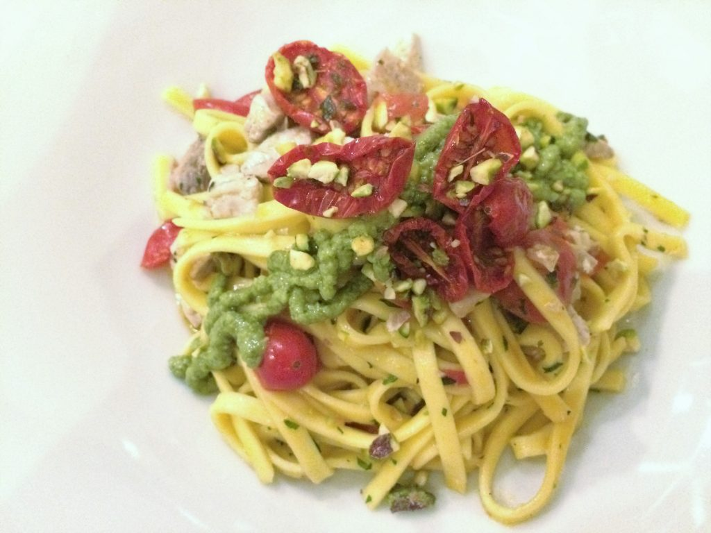 fresh tagliolini with swordfish and pistachio pesto