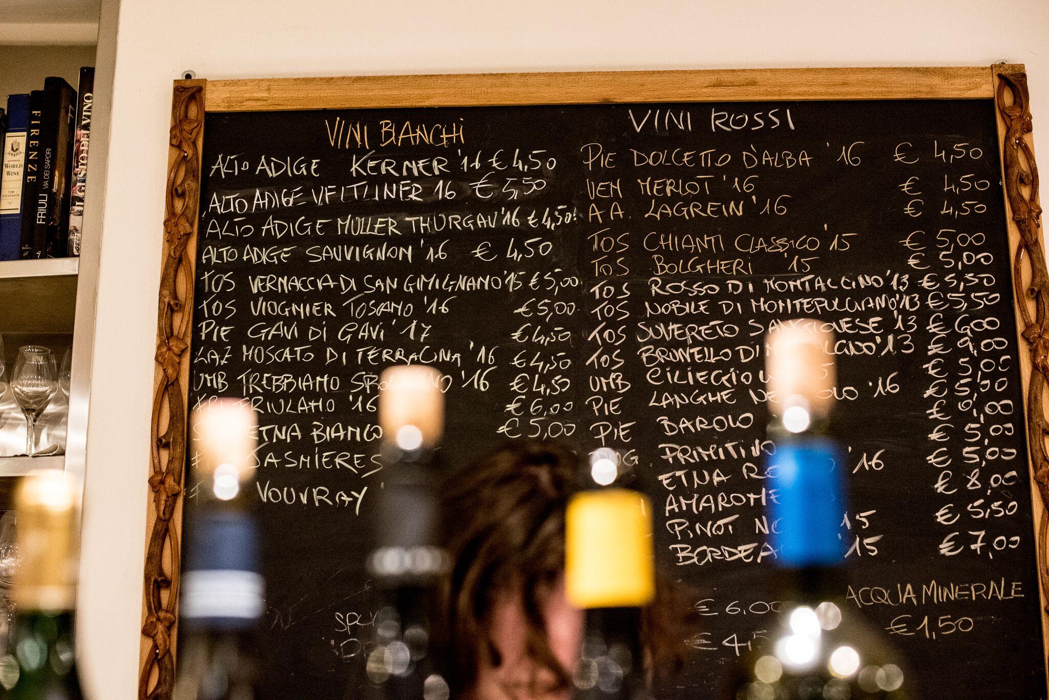 wine menu volpi e l'uva florence tracy